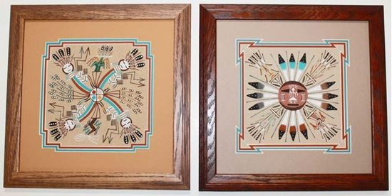 """8"""" x 8"""" Sand Painting Matted and Framed 12"""" x 12"""""""