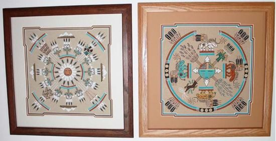 """12"""" x 12"""" Sand Painting Matted 16"""" x 16"""" frame"""