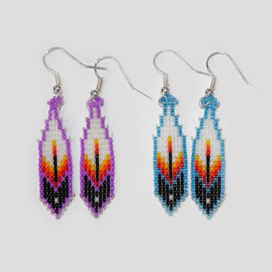 Picture of NATIVE AMERICAN NAVAJO BEADED EARRING 30 FEATHER